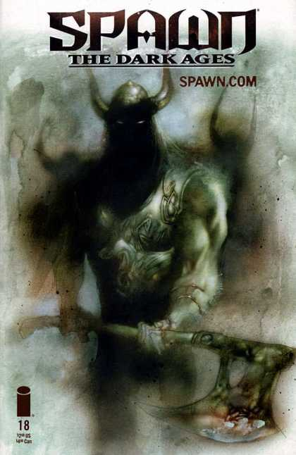 Spawn: The Dark Ages 18 - Horned Helmet - White Eyes - Ax - Armour - Shadows - Ashley Wood