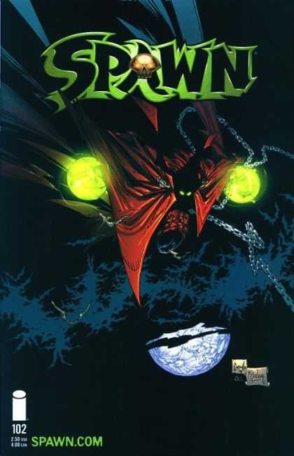 Spawn 102 - Glowing Green - Moon - Night - Skull - Metal Chain - Greg Capullo, Todd McFarlane