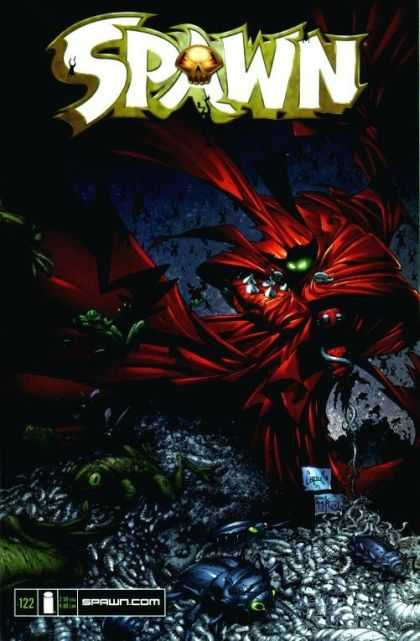 Spawn 122 - Spawn Comics - Green Eyes In Back Ground - Number 122 - Red Cape In Back Ground - Bugs In Forground - Greg Capullo