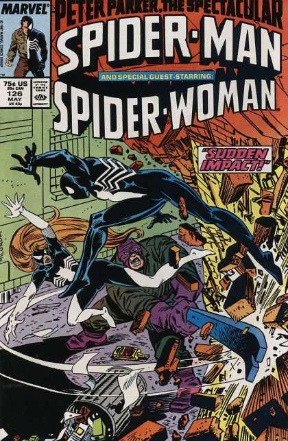 Spectacular Spider-Man (1976) 126 - Peter Parker - Spider Woman - Sudden Impact - Crowbar - Trash