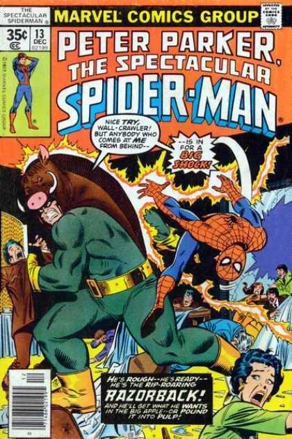 Spectacular Spider-Man (1976) 13 - Approved By The Comics Code - Peter Parker - Big Shock - Razorback - Man - Sal Buscema