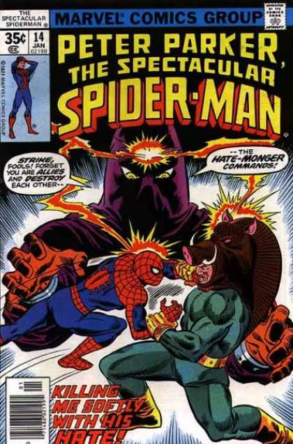Spectacular Spider-Man (1976) 14 - Web Slinger - Hedge Hog - Hate Monger - Great Power Comes With Great Resposibility - Go Get It Tiger - Sal Buscema