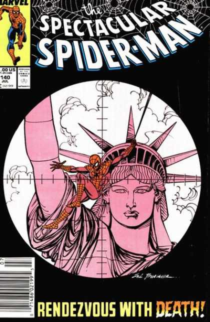 Spectacular Spider-Man (1976) 140 - Spiderman - Crosshairs - Statue Of Liberty - Clouds - Rendezvous With Death - Sal Buscema