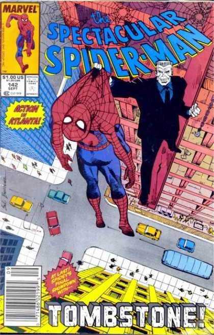 Spectacular Spider-Man (1976) 142 - Marvel - Super-hero - Action In Atlanta - Web - Tombstone - Sal Buscema