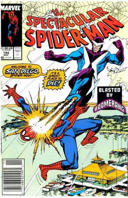 Spectacular Spider-Man (1976) 144 - Blasted By Boomerang - Marvel - Welcome To San Diego - Boats - Palm Trees - Sal Buscema