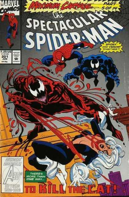 Spectacular Spider-Man (1976) 201 - Jun 201 - Venom - Marvel Comics - The Cat - Avengers - Sal Buscema