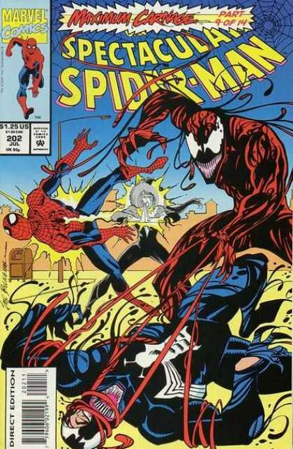 Spectacular Spider-Man (1976) 202 - Marvel - Maximu Carnage - Attacked - Fighting - Thread - Sal Buscema