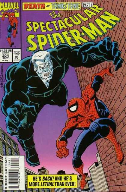 Spectacular Spider-Man (1976) 204 - Death By Tombstone - September - Direct Edition - Brick Wall - Part 1 - Sal Buscema
