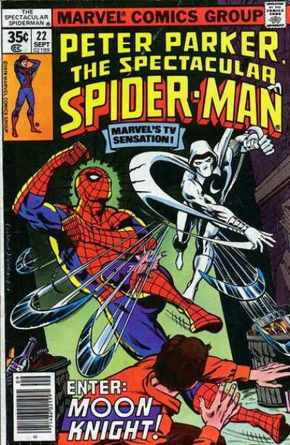 Spectacular Spider-Man (1976) 22 - Marvel Comics Group - Marvels Tv Sensation - Moon Knight - Garbage Cans - Moon Shaped Blades