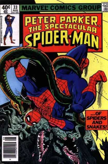 Spectacular Spider-Man (1976) 33 - Secret Identity - Reptiles - Snakes - Crocs - Jeopardy - Jim Mooney