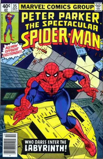 Spectacular Spider-Man (1976) 35 - Offbeat Excitement - Police - The Labyrinth - Nighttime - Scaling - Lee Elias