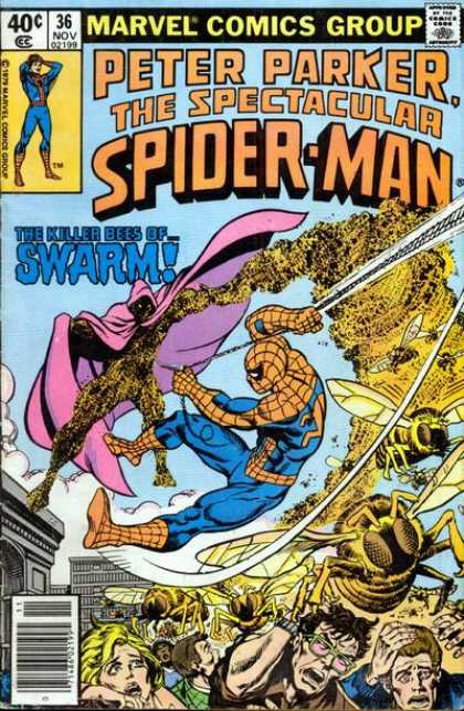 Spectacular Spider-Man (1976) 36 - Bee - Swarm - Crowd - Spiderman - Panic - Jim Mooney