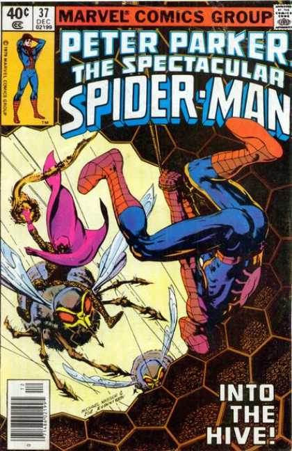 Spectacular Spider-Man (1976) 37 - Into The Hive - Honeycomb - Bees - Upside-down - Battle - Josef Rubinstein
