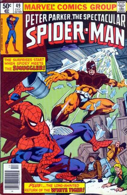 Spectacular Spider-Man (1976) 49 - The Smuggler - White Tiger - 49 - December Issue - Warehouse