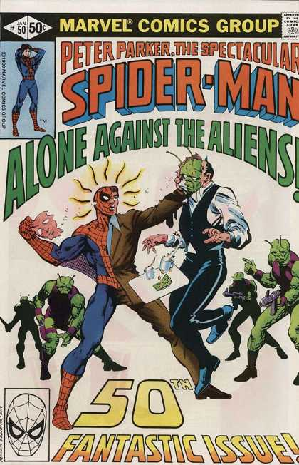 Spectacular Spider-Man (1976) 50 - Alone Aginst The Aliens - 50th Issue - Fantastic - Spider Sense - Suit - Frank Miller