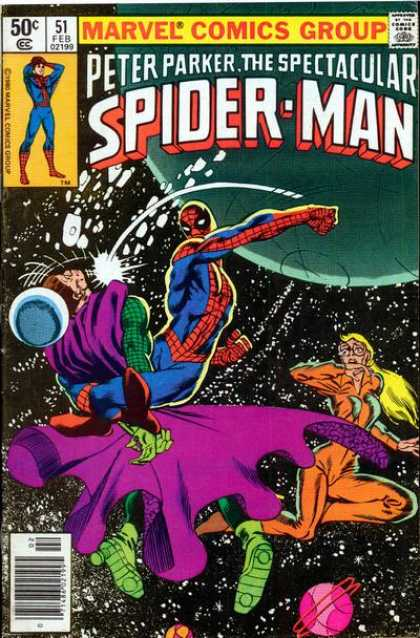 Spectacular Spider-Man (1976) 51 - Space - Marvel - Galaxies - Stars - Fighting - Frank Miller