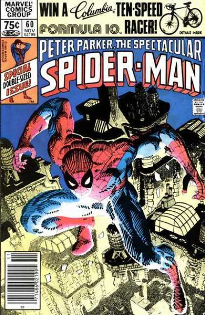 Spectacular Spider-Man (1976) 60 - Ten-speed Racer - Formula 10 - Peter Parker - Double-sized Issue - Buildings - Frank Miller