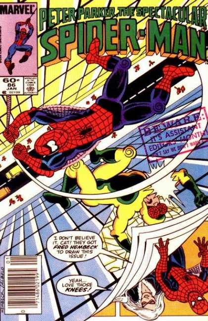 Spectacular Spider-Man (1976) 86 - Fred Hembeck - Assistant Editor Month - Swinging - Human Fly - Buildings - Fred Hembeck