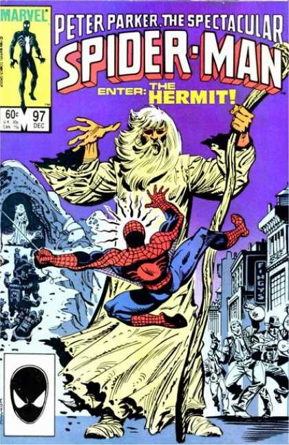 Spectacular Spider-Man (1976) 97 - Buildings - Staff - Beard - Crowd - Costume
