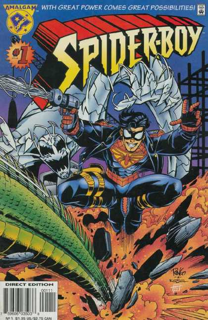Spider-Boy 1 - With Great Power Comes Great Possiblities - Amalgam - Gun - Web - Monster - Mike Wieringo