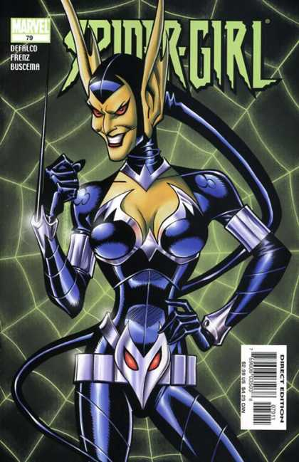 Spider-Girl 79 - Long Pointed Ears - Blue Outfit - Spike From Wrist - Web - Red Eyes