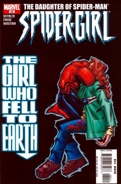 Spider-Girl 89 - Spidermans Daugter - Green Coat - Fell To Earth - Red Hair - Flowers