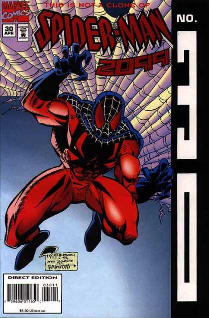 Spider-Man 2099 30 - Issue Number 30 - April Issue - Red With Blue Mask - Webbing In The Back Ground - Direct Issue