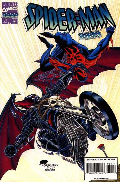 Spider-Man 2099 31 - Motorcycle - Flying - Skull - Barcode - Marvelous