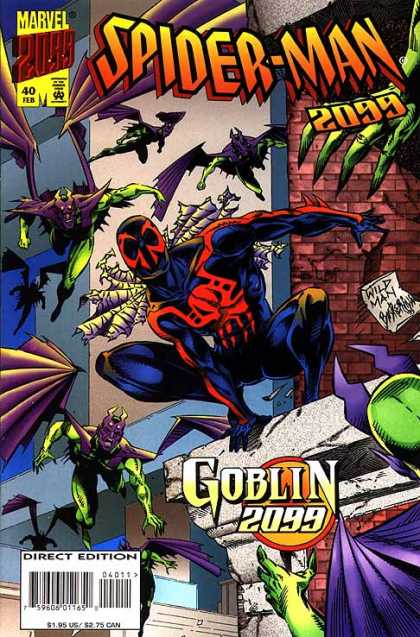Spider-Man 2099 40 - Marvel 2000 - Goblin 2099 - Flying Green Creatures - Brick Wall - Wild Man