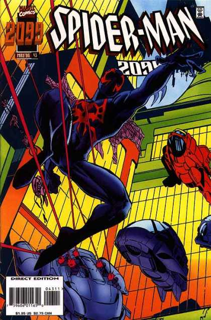 Spider-Man 2099 43 - Black And Red Suit - Red Lasers - Flying Cars - Yellow Buildings - Jumping - Humberto Ramos