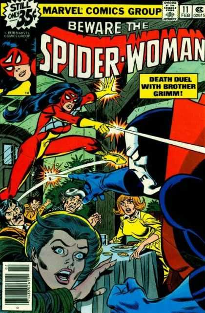 Spider-Woman 11 - Fight - Brother Grimm - Marvel - Dinner Party - Lasers - Carmine Infantino