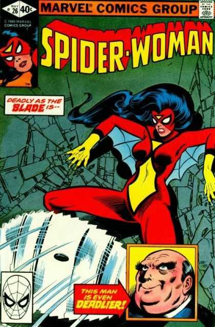 Spider-Woman 26 - Blade - Sawblade - Red Outfit - Yellow Gloves - 26 - Joe Sinnott, John Byrne