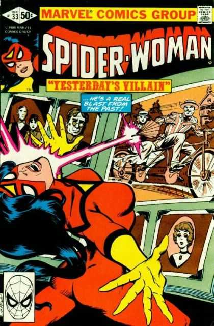 Spider-Woman 33 - Villain - Blast - Past - Photographs - Bicycle - Dave Cockrum