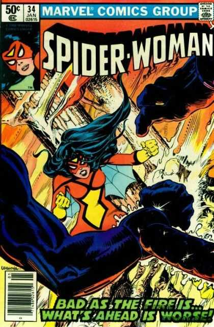 Spider-Woman 34 - Web - Fists - Black Hair - Fire - Smoke - Steve Leialoha