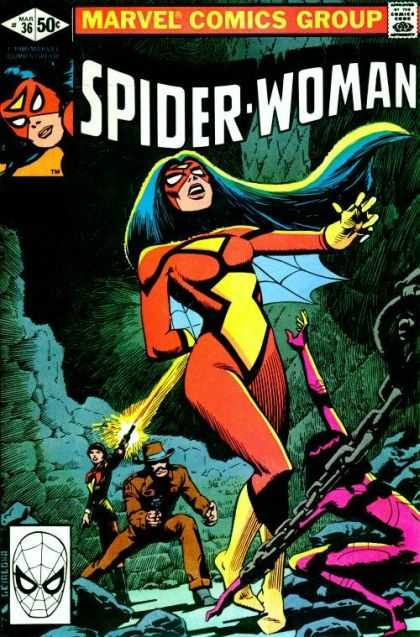Spider-Woman 36 - Chain - Gun - Cave - Cowboy Hat - Black Hair - Steve Leialoha