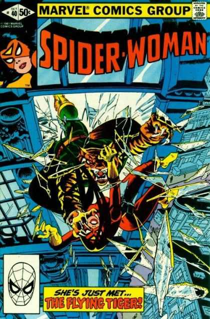 Spider-Woman 40 - Tiger - Flying - Glass - Window - Spider Man - Steve Leialoha