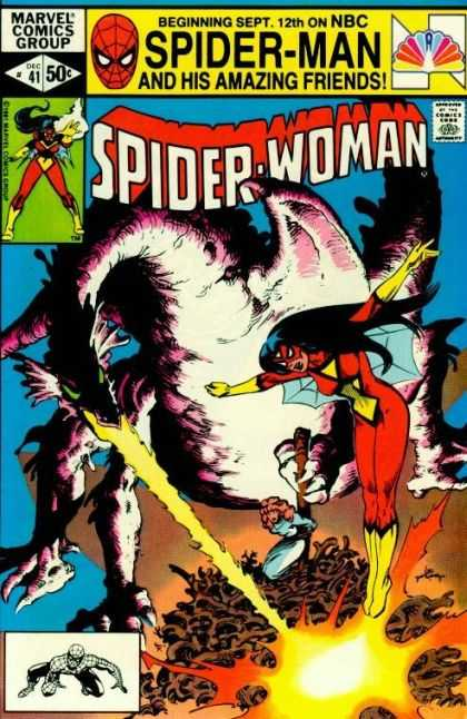 Spider-Woman 41 - Amazing Friends - Number 41 - 50 An Issue - Dragon Starting A Fire - Woman Being Set On Fire - Steve Leialoha