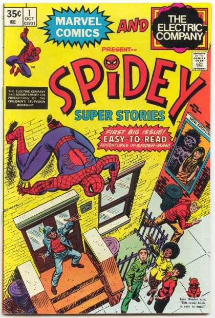 Spidey Super Stories 1 - Spiderman - 35 Cents - Marvel Comics - The Electric Company - First Big Issue
