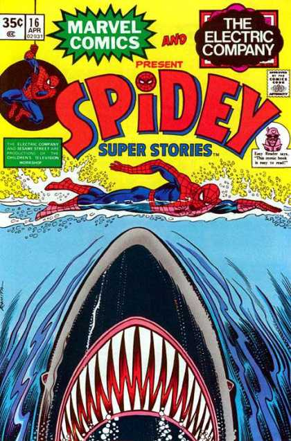 Spidey Super Stories 16 - Shark - Water - Superhero - Teeth - Waves
