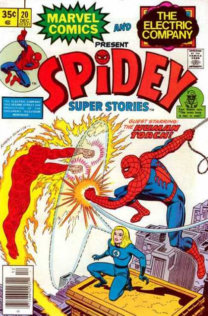 Spidey Super Stories 20 - Human Torch - Spoiderman - Rooftops - The Electric Company - Shield - Jack Kirby
