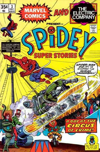 Spidey Super Stories 3 - The Electric Company - Marvel - Spider-man Did It - He Stopped The Human Cannonball - A Day At The Circus Of Crime