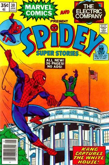 Spidey Super Stories 30 - White House - Flag - Flag Pole - Kang On White House - American