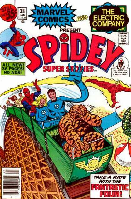 Spidey Super Stories 38 - Marvel Comics - The Electric Company - Roller Coaster - Thing - Fantastic Four - Sal Buscema