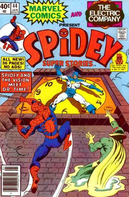 Spidey Super Stories 44 - Marvel - Mutants - Costumes - Clock - Battle