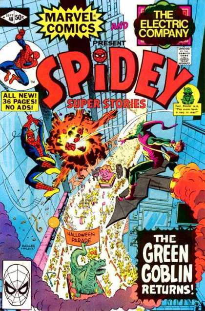 Spidey Super Stories 48 - Real Flying - Flying Comics - Thinking Hero - Electric Company - Green Goblin - Richard Buckler