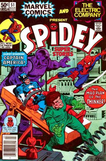 Spidey Super Stories 51 - Marvel - March - 50 Cents - The Electric Company - Captain America