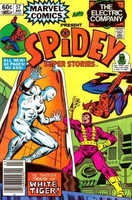 Spidey Super Stories 57 - Super Hero - Marvel Comics - Electric Company - Traps The White Tiger - Villains