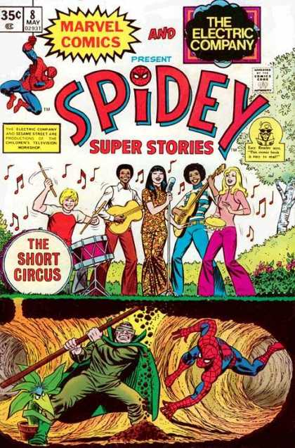 Spidey Super Stories 8 - Spiderman - Electric Company - Band - Tunnel - Notes