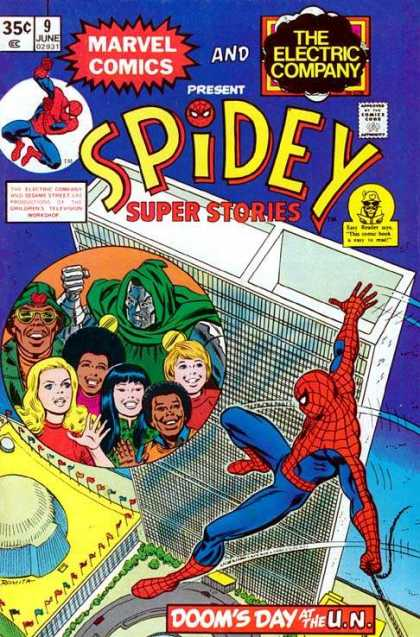 Spidey Super Stories 9 - Building - Dooms Day - United Nations - Marvel Comics - Flags