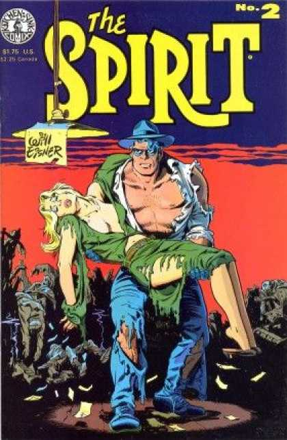 Spirit 2 - Girl - Guy - Green Dress - Blue Hat - Carrying Girl - Darwyn Cooke, Will Eisner